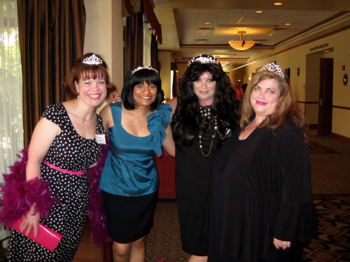 Nalini at Boas & Tiaras with authors (from left), Rosemary Clement-Moore, Dakota Cassidy, and Candace Havens