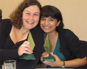 With fellow writer Sally McClennan and our Sir Julius Vogel awards!